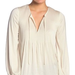 Lucky Brand Blouse Peasant Top Pleated Beige Sz M